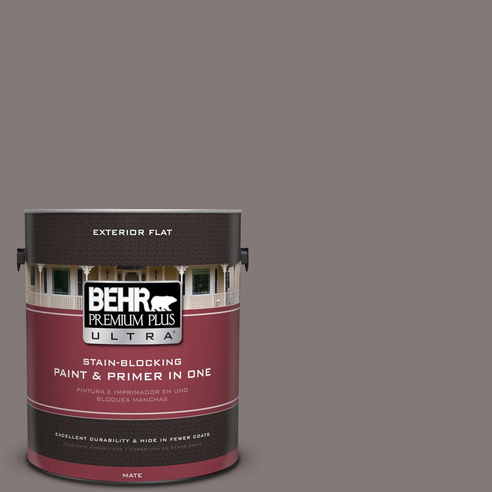 BEHR Premium Plus Ultra 1-gal. #N140-5 Complex Gray Flat Exterior Paint
