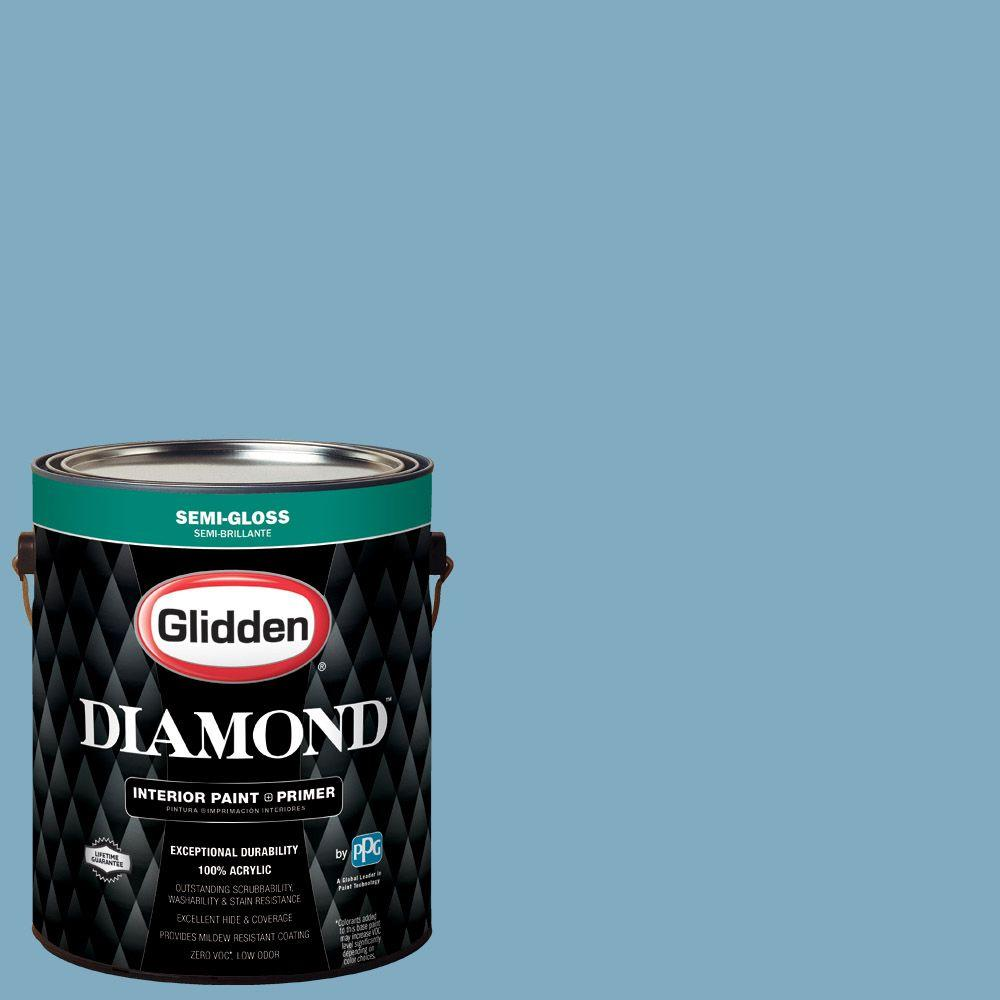 Glidden Diamond 1 gal. #HDGB59 Country House Blue Semi-Gloss Interior Paint