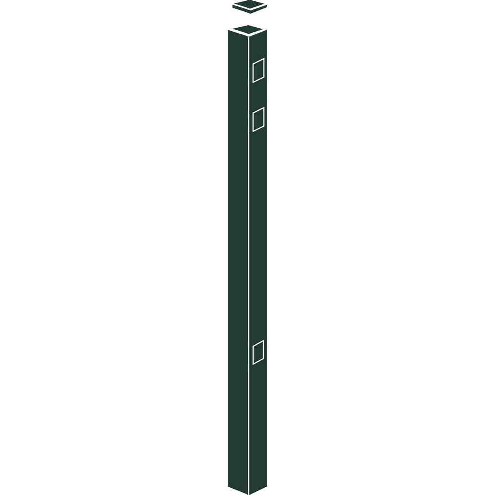 Allure Aluminum 54 in. Aluminum Hunter Green Fence End/Gate Post (1-Pack)-DISCONTINUED