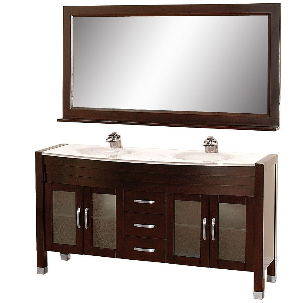 Wyndham Collection Daytona 63 in. Vanity in Espresso with Double Basin Stone Vanity Top in White and Mirror