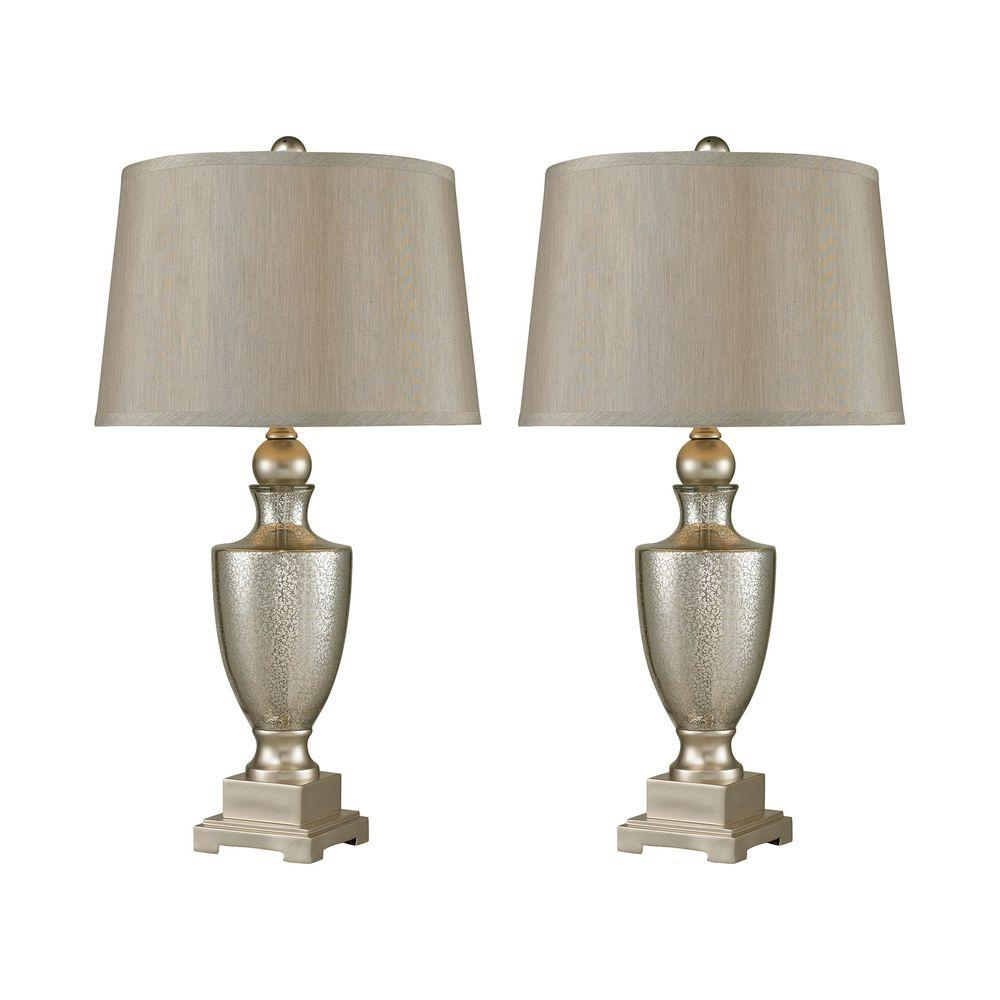 29 in. Antique Mercury Glass Table Lamps with Silver Accents (Set