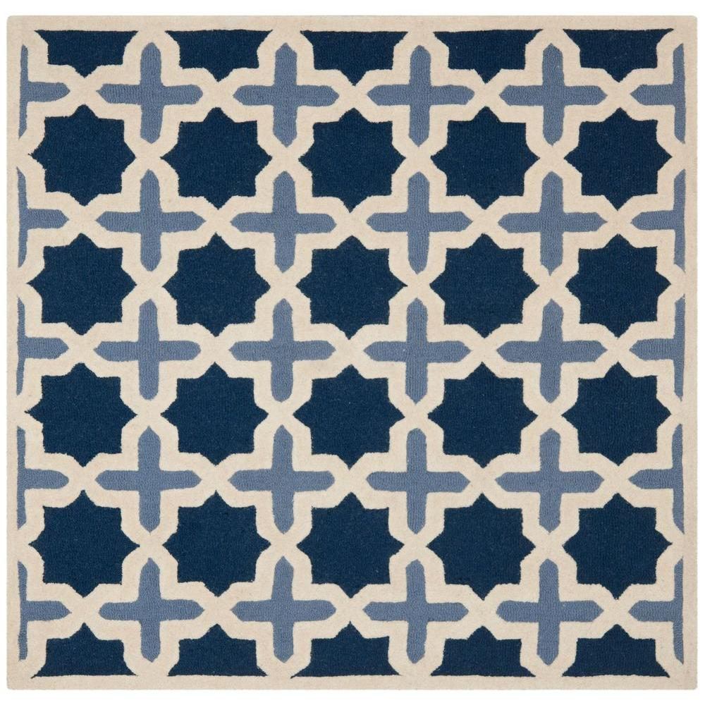 Cambridge Blue/Ivory 4 ft. x 4 ft. Square Area Rug