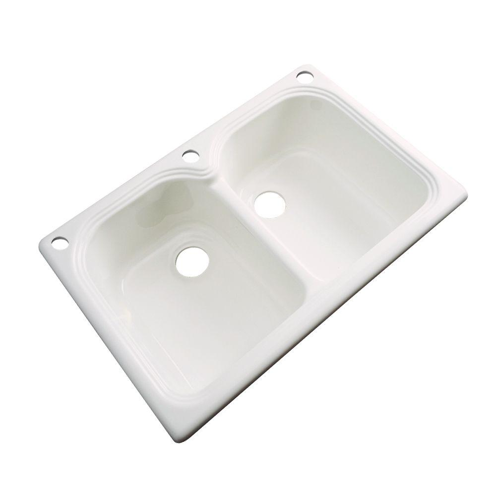 Thermocast Hartford Drop-In Acrylic 33 in. 3-Hole Double Basin Kitchen Sink in Bone