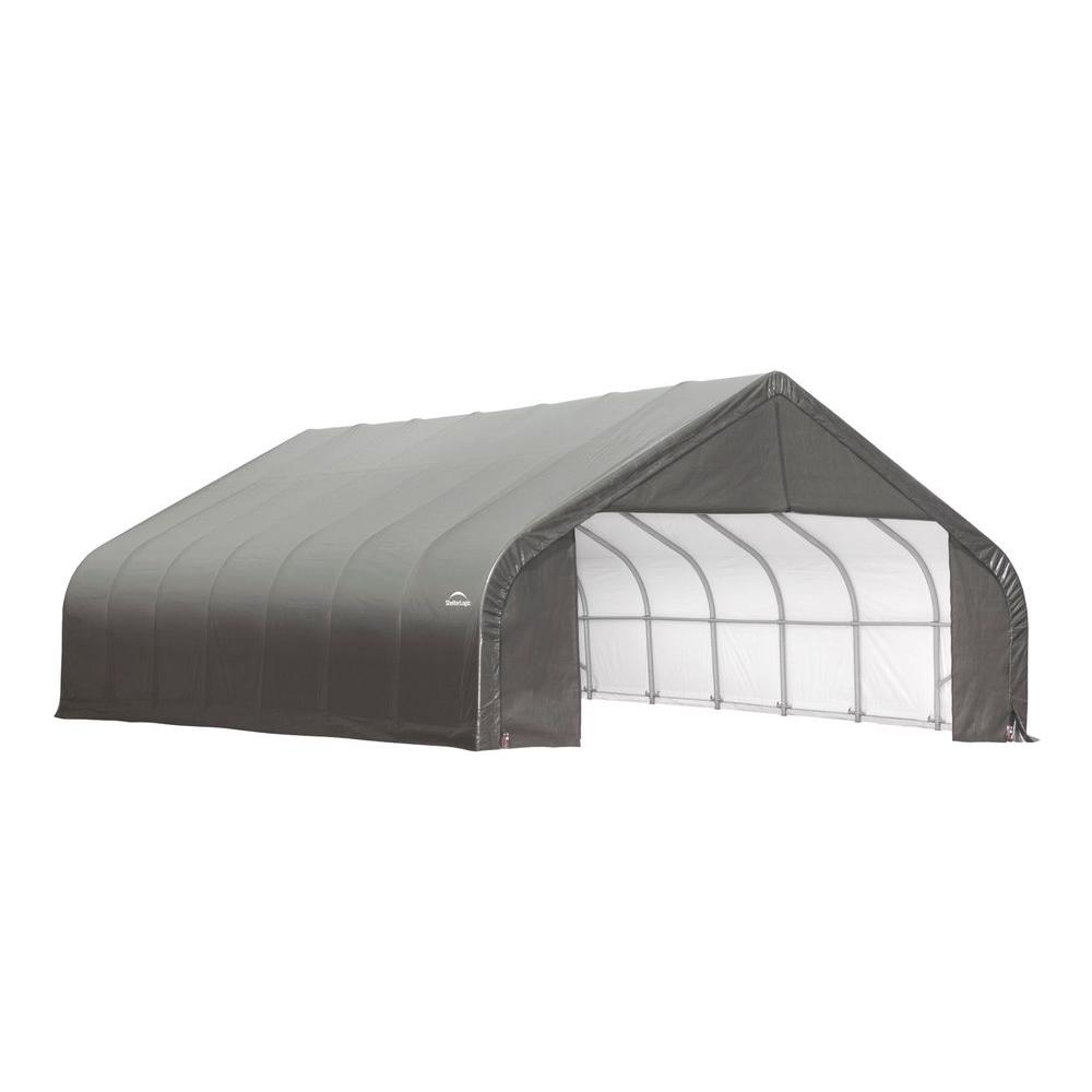 ShelterLogic 30 ft. x 32 ft. x 16 ft. Grey Cover Peak Style Shelter - DISCONTINUED