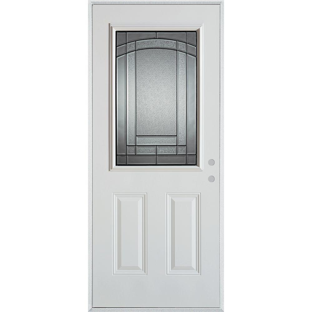 Stanley Doors 32 in. x 80 in. Chatham Patina 1/2 Lite 2-Panel Painted White Steel Prehung Front Door