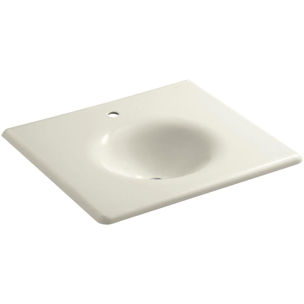 KOHLER Iron/Impressions 25-5/8 in. Cast Iron Single Basin Vanity Top in Biscuit with Biscuit Basin