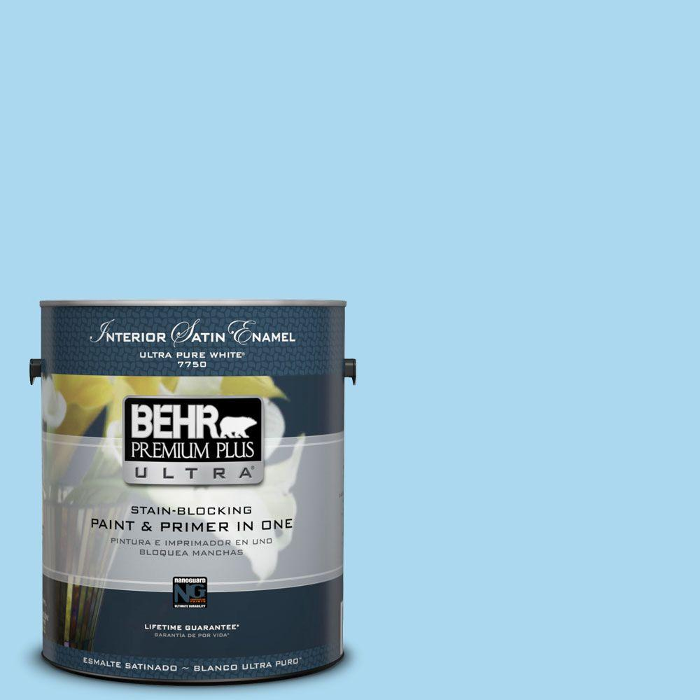 1-gal. #540A-3 Blue Feather Satin Enamel Interior Paint