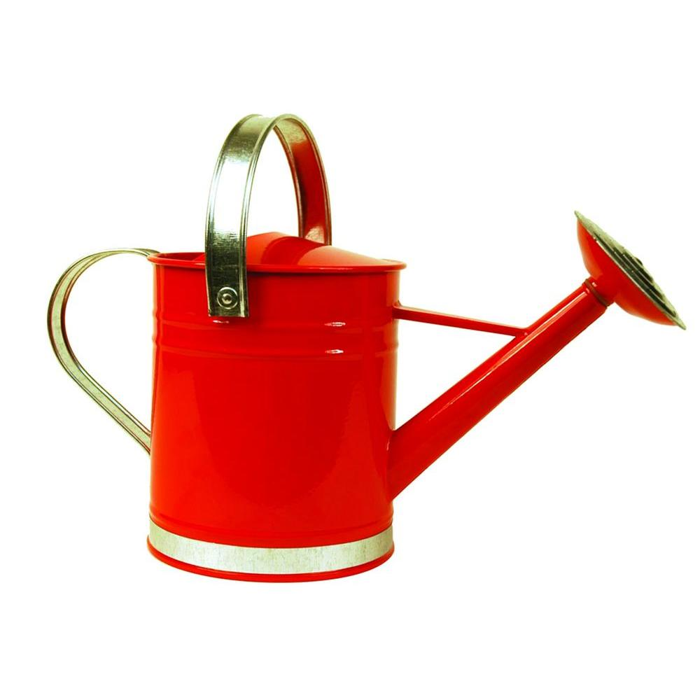 Arcadia Garden Products Basic 0.5 Gal. Red Metal Watering Can-WC01 -