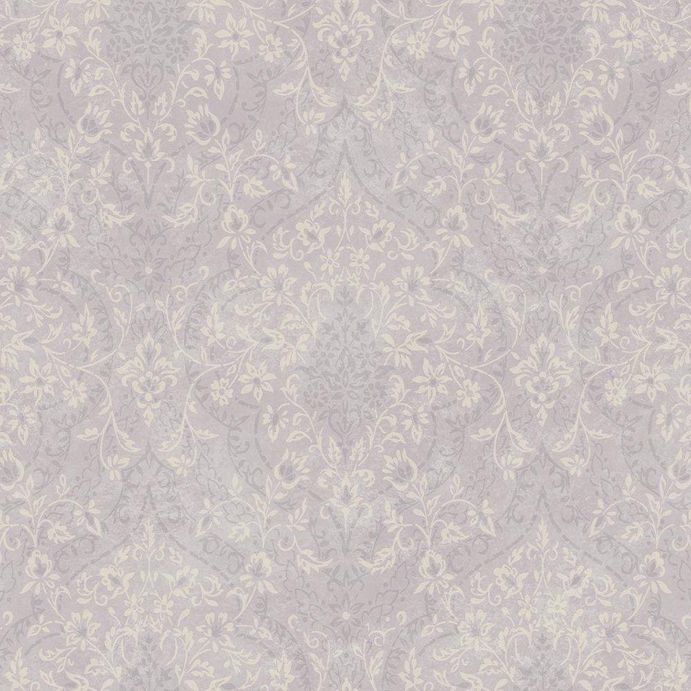 Essex Lavender Lacey Damask Wallpaper