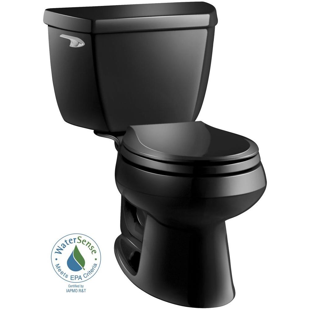 KOHLER Wellworth Classic 2-piece 1.28 GPF Round Front Toilet with Class Five Flushing Technology in Black