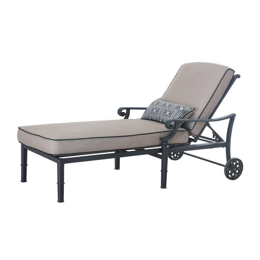 Catelynn Black Patio Lounge Chaise with Beige Cushion