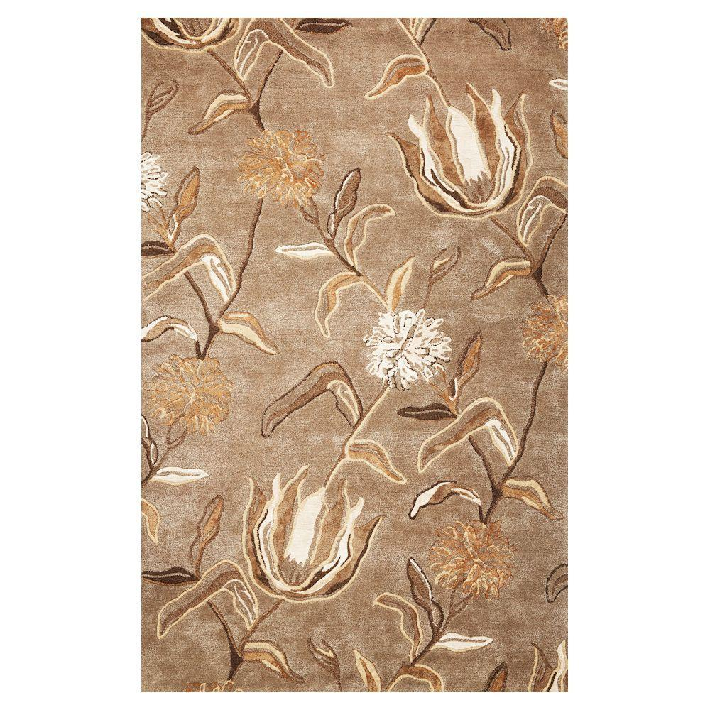 Flowers at Dusk Silver 5 ft. x 8 ft. Area Rug
