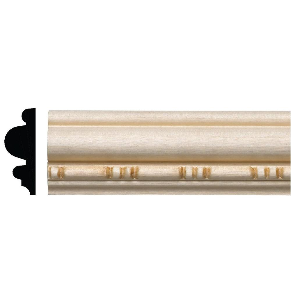Ornamental Mouldings 15/32 in. x 1-5/16 in. x 96 in. White Hardwood Sausage and Bead Embossed Moulding