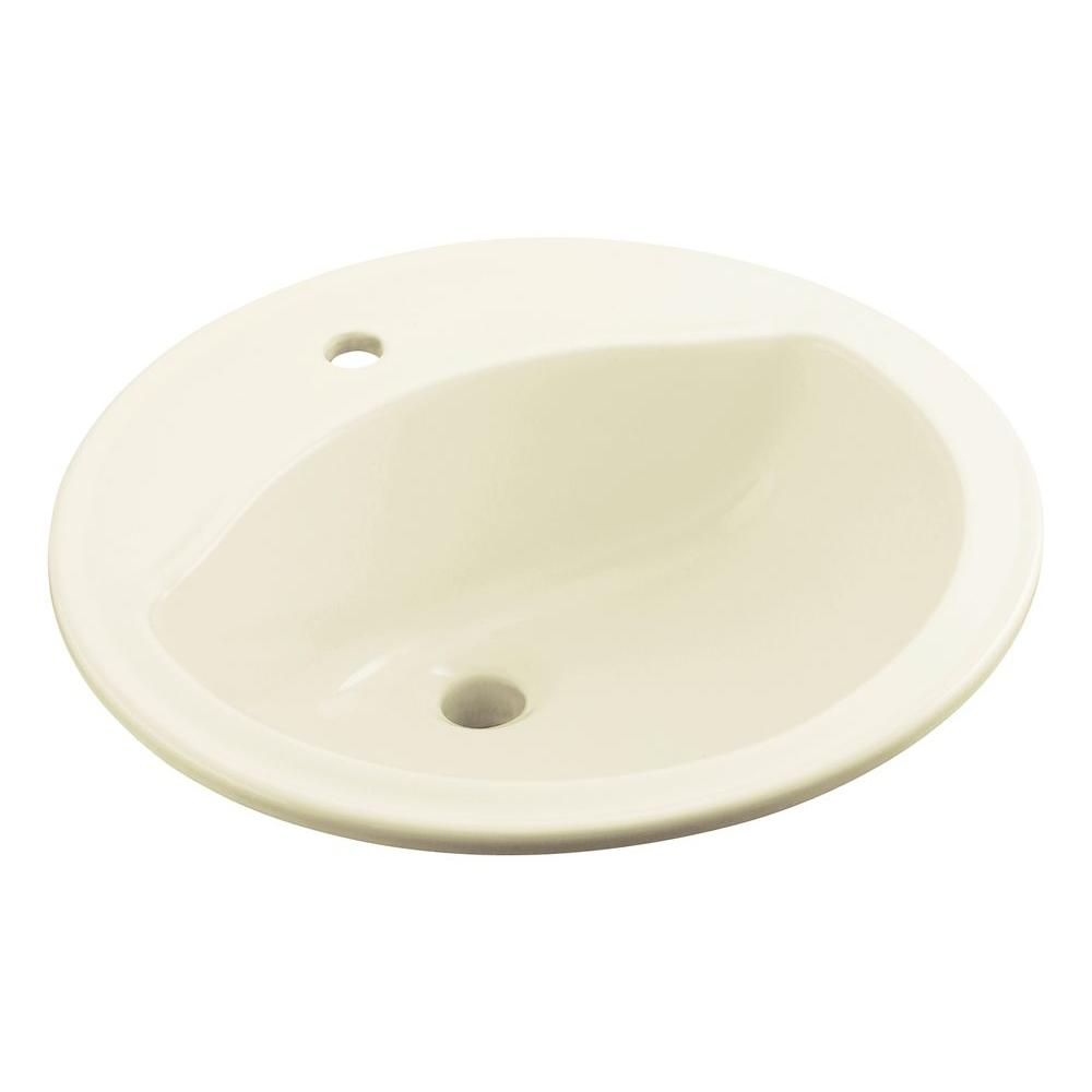 STERLING Modesto Drop-In Vitreous China Bathroom Sink in Biscuit with Overflow Drain