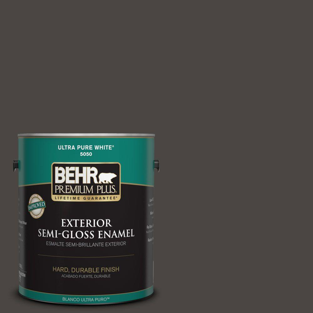 Behr Premium Plus 1 Gal 780f 7 Stealth Jet Semi Gloss Enamel Exterior Paint 534001 The Home