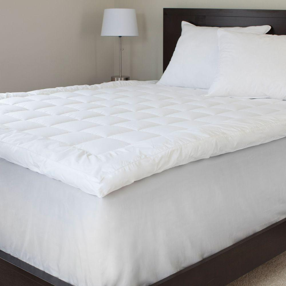 Lavish Home Mattress Pads & Covers Queen Size 3 in. Down Alternative Mattress Topper Whites 64-12-Q