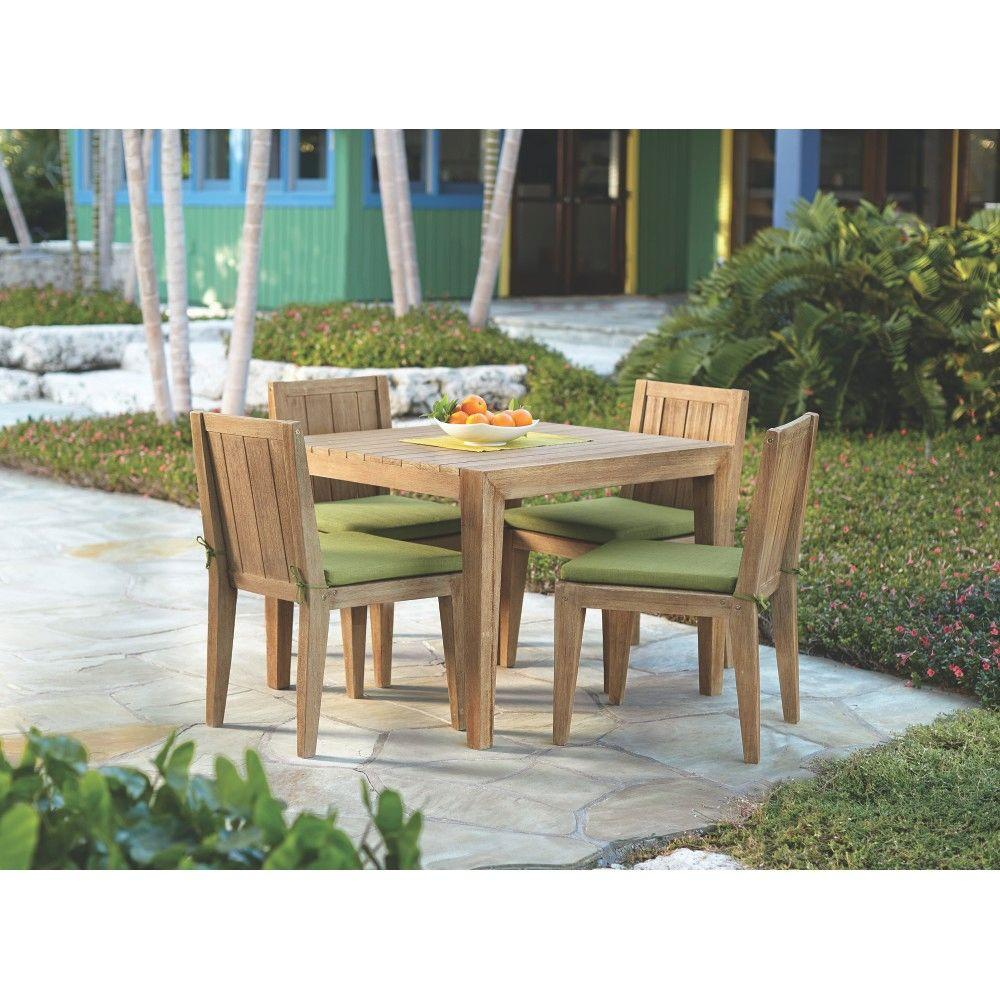 Home Decorators Collection Bermuda 5-Piece All Weather Eucalyptus Wood Patio Dining Set with Kiwi Fabric Cushions