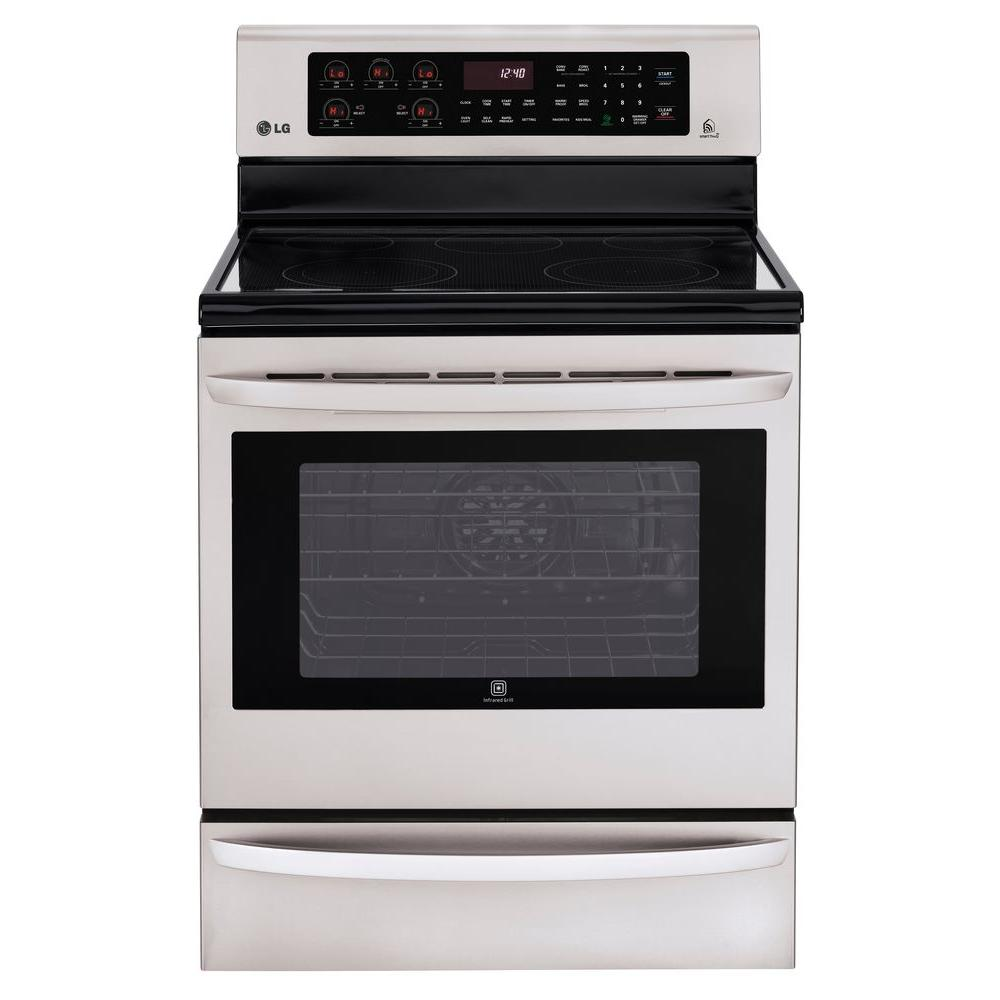 LG Electronics 6.3 cu. ft. Electric Range with Self-Cleaning, Smart ThinQ Technology and Convection in Stainless Steel