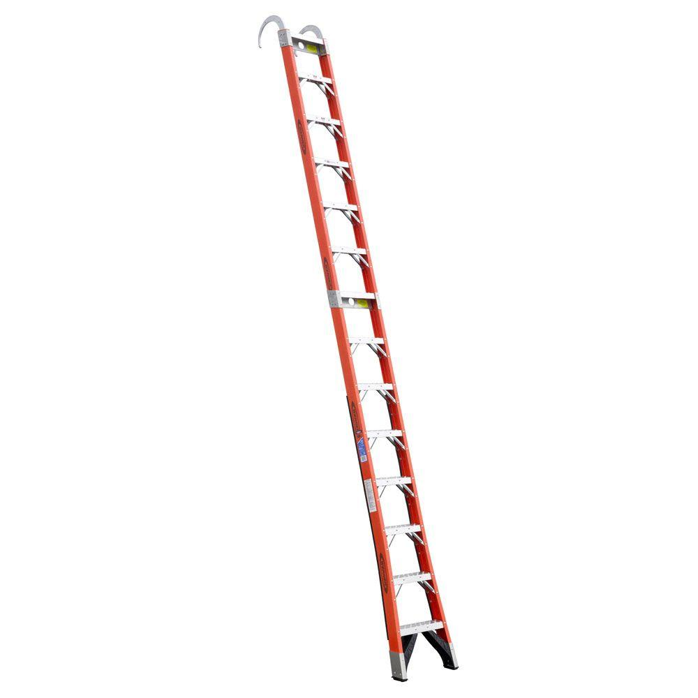 14 ft. Fiberglass Straight Posting Ladder with 300 lb. Load Capacity