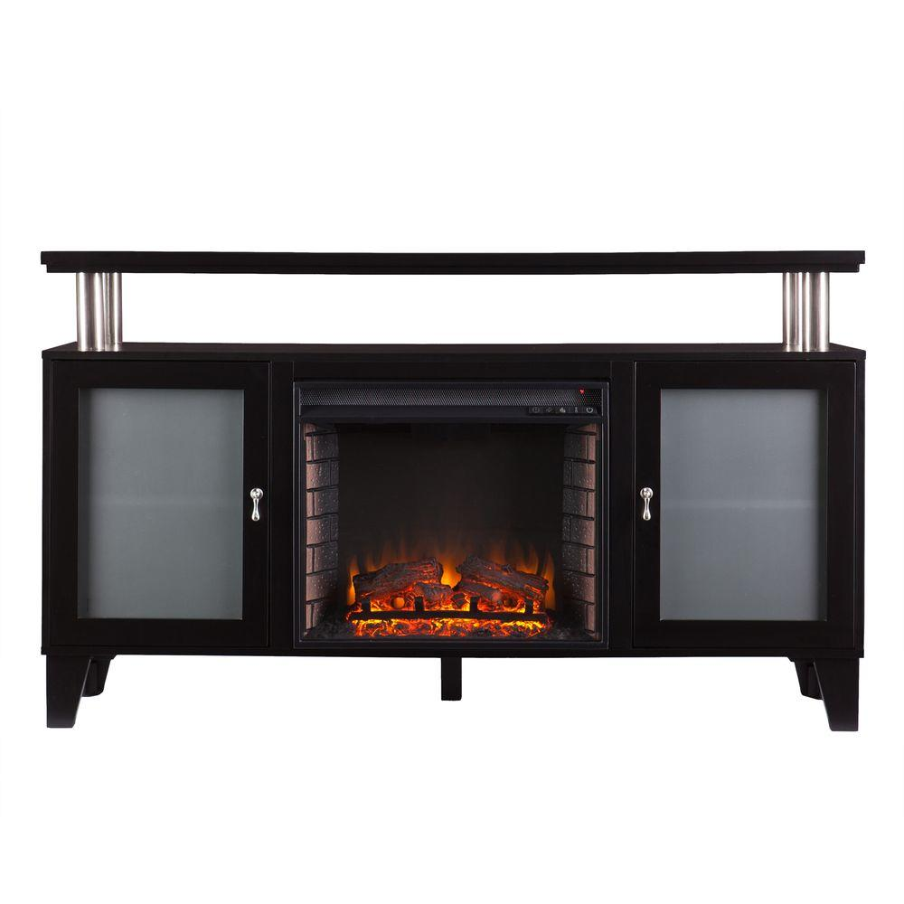 Cornelius 60 in. Freestanding Media Electric Fireplace in Black