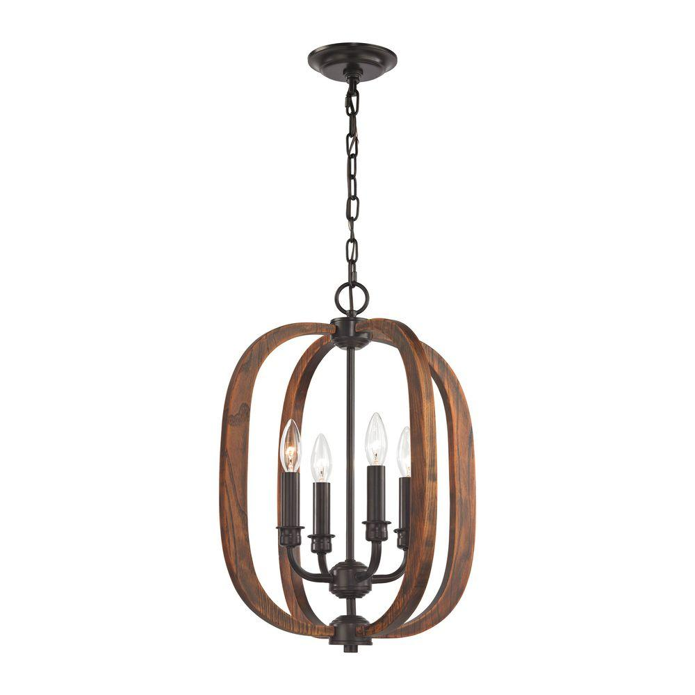 Wood Arches 4-Light Oil Rubbed Bronze Chandelier-TN-75713 ...