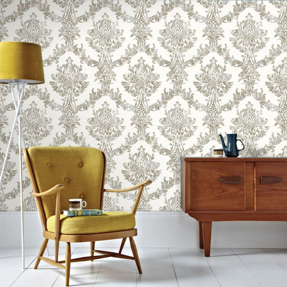 White and Gold Opal Damask Wallpaper