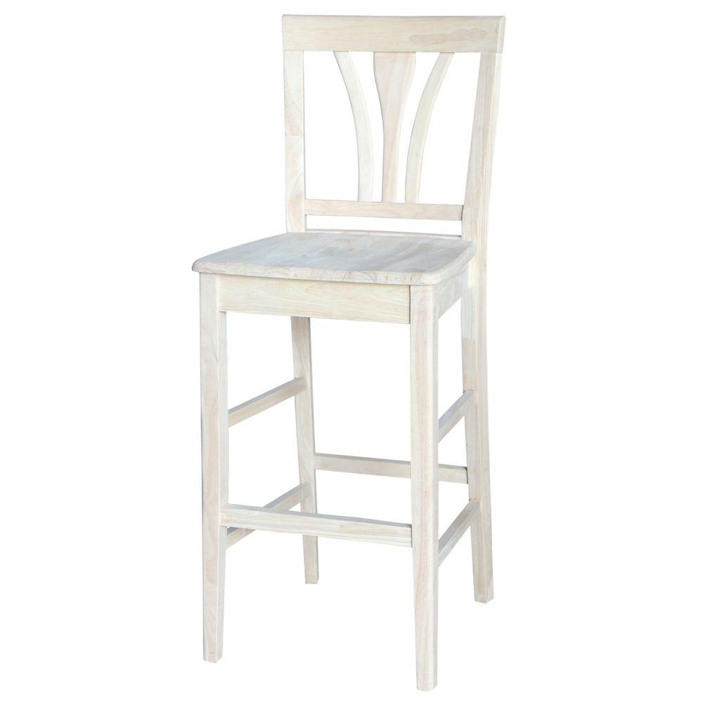 International concepts 30 in unfinished wood bar stool s 9183 the home depot Home depot wood bar stools