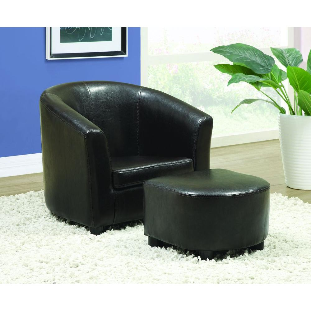 Monarch Specialties Leather-Look Juvenile Chair/Ottoman Set in Dark Brown (2-Piece)