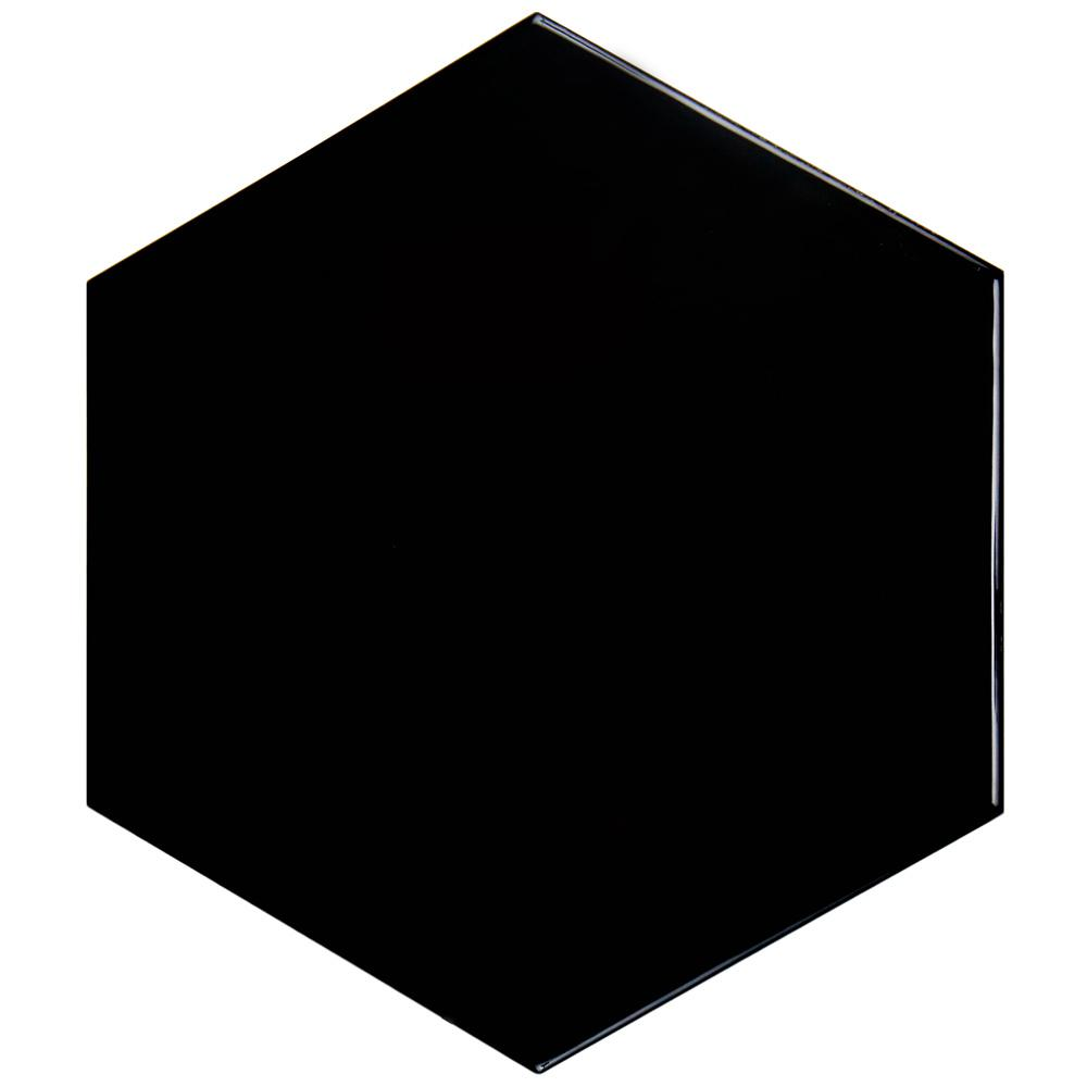 Merola Tile Hexatile Glossy Nero 7 in. x 8 in. Ceramic Floor and Wall Tile (2.2 sq. ft. / pack), Nero/High Sheen