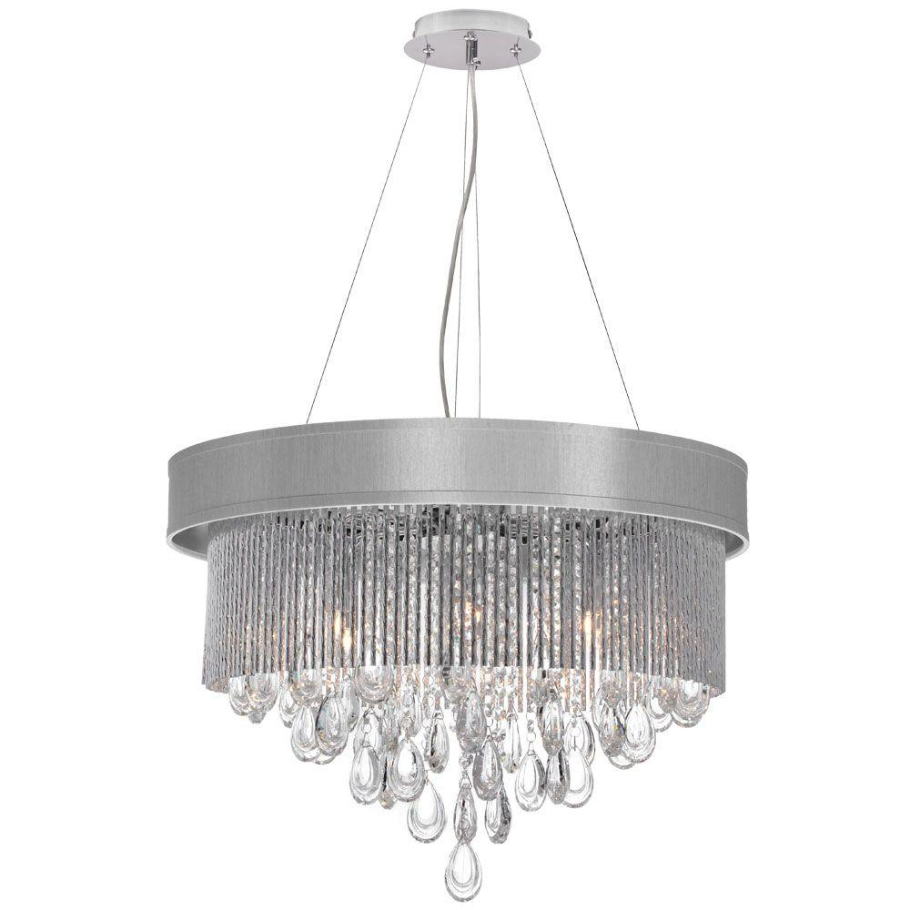Radionic Hi Tech Intermezzo 6-Light Polished Chrome Crystal Chandelier with Silver Shade