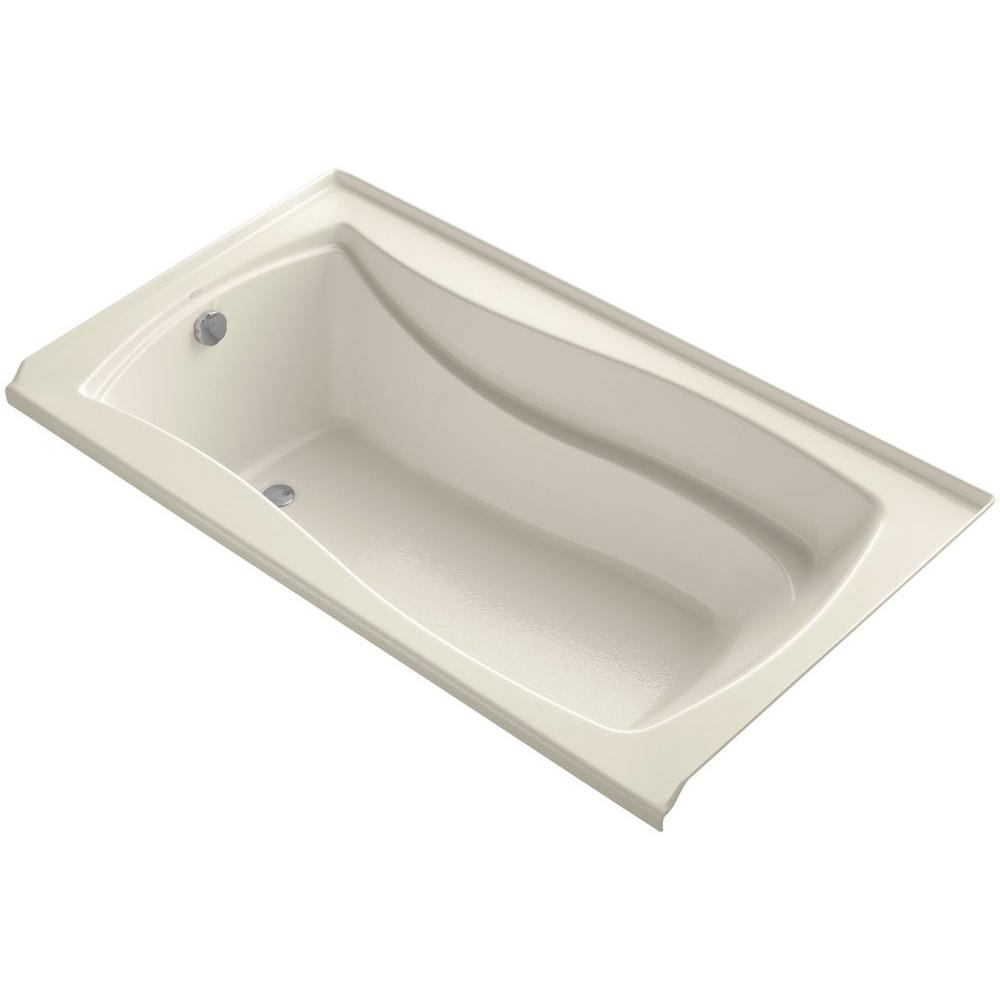 Mariposa 5.5 ft. Left Drain Soaking Tub in Almond with Basked