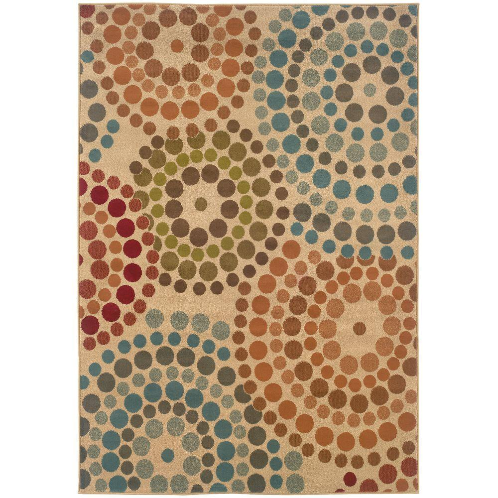 Spiral Mosaic Tan 10 ft. x 13 ft. Area Rug