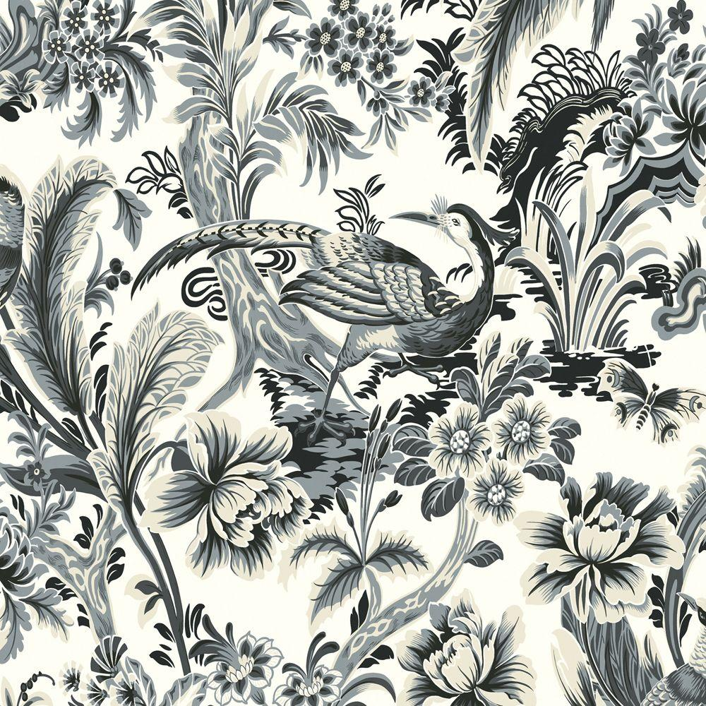 The Wallpaper Company 56 sq. ft. Charcoal Bird's Paradise Wallpaper