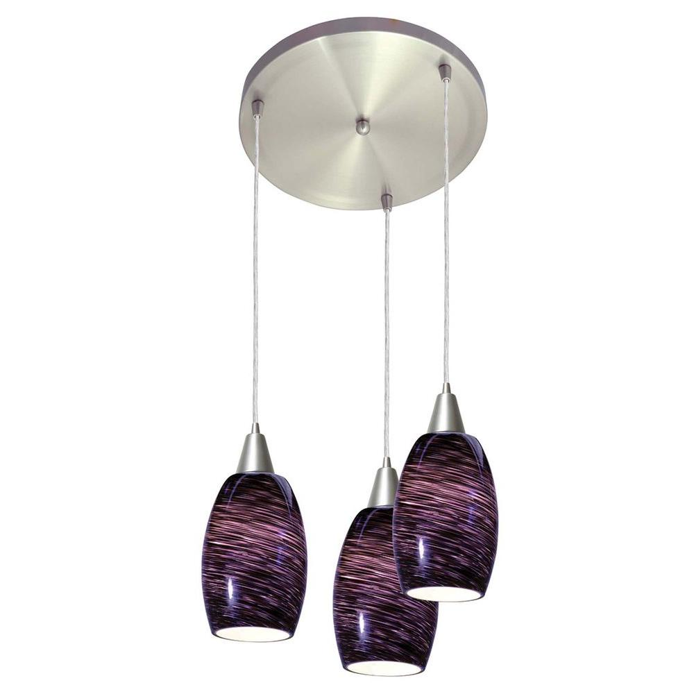 Access Lighting 3-Light Pendant Brushed Steel Finish Purple Swirl Glass-DISCONTINUED
