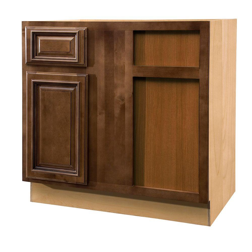 Home Decorators Collection Assembled 36x34.5x24 in. Base Blind Corner Right with Door and Drawer in Huntington Chocolate Glaze