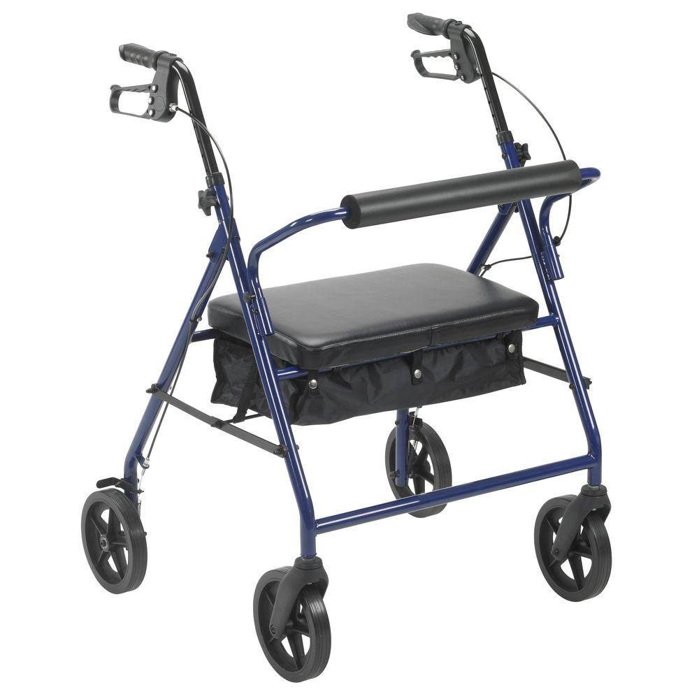 Bariatric Rollator with 8 in. Wheels in Blue
