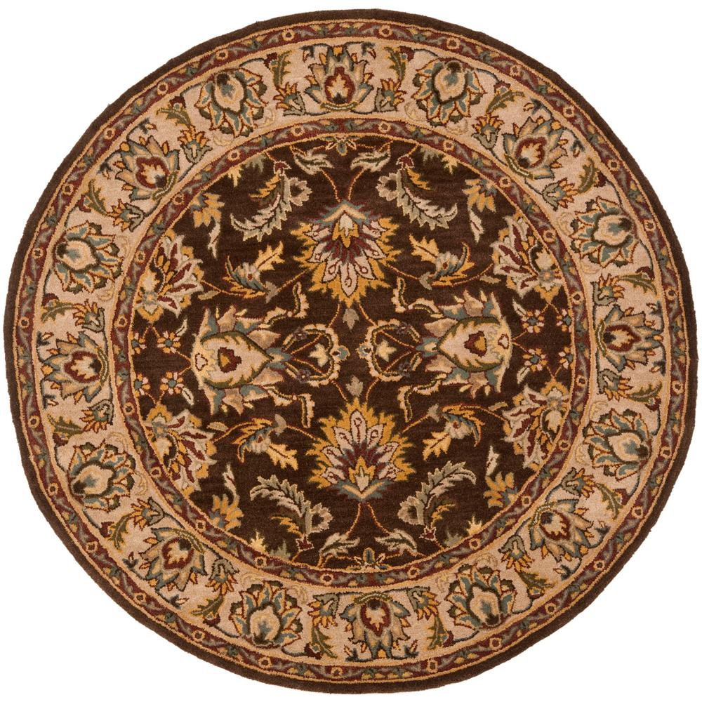 Heritage Brown/Ivory 8 ft. x 8 ft. Round Area Rug