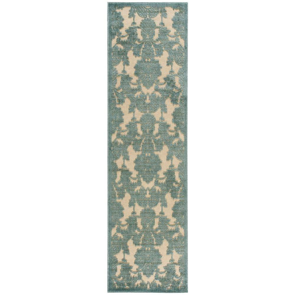 Nourison Graphic Illusions Teal 2 ft. 3 in. x 8 ft.