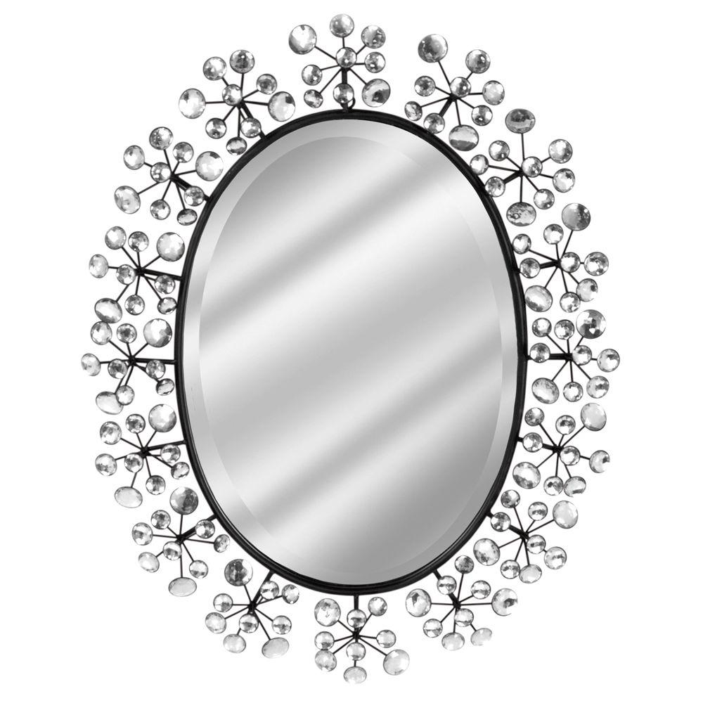 Home Decorators Collection 23 in. x 28 in. Diamond Bronze Oval Framed Mirror