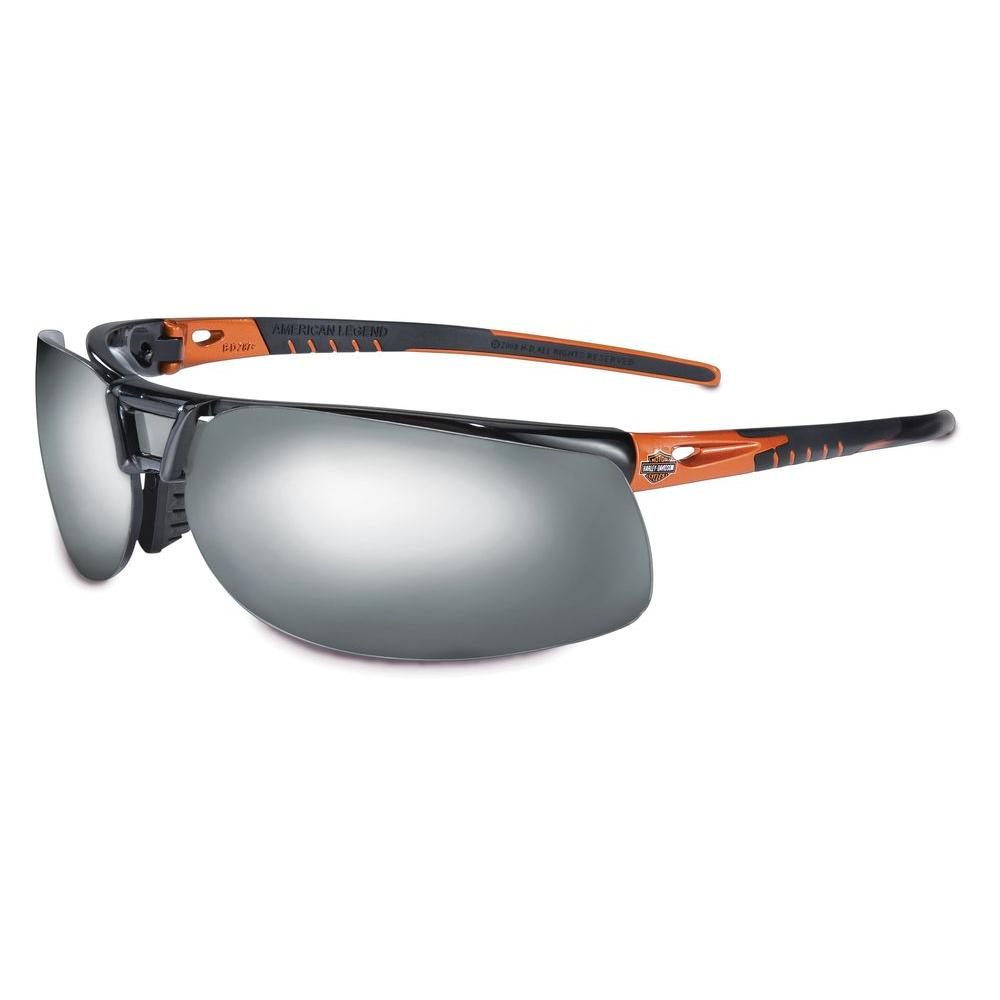 Harley-Davidson HD1100 Series Safety Glasses with Silver Mirror Tint Hardcoat Lens and Black/Orange Frame