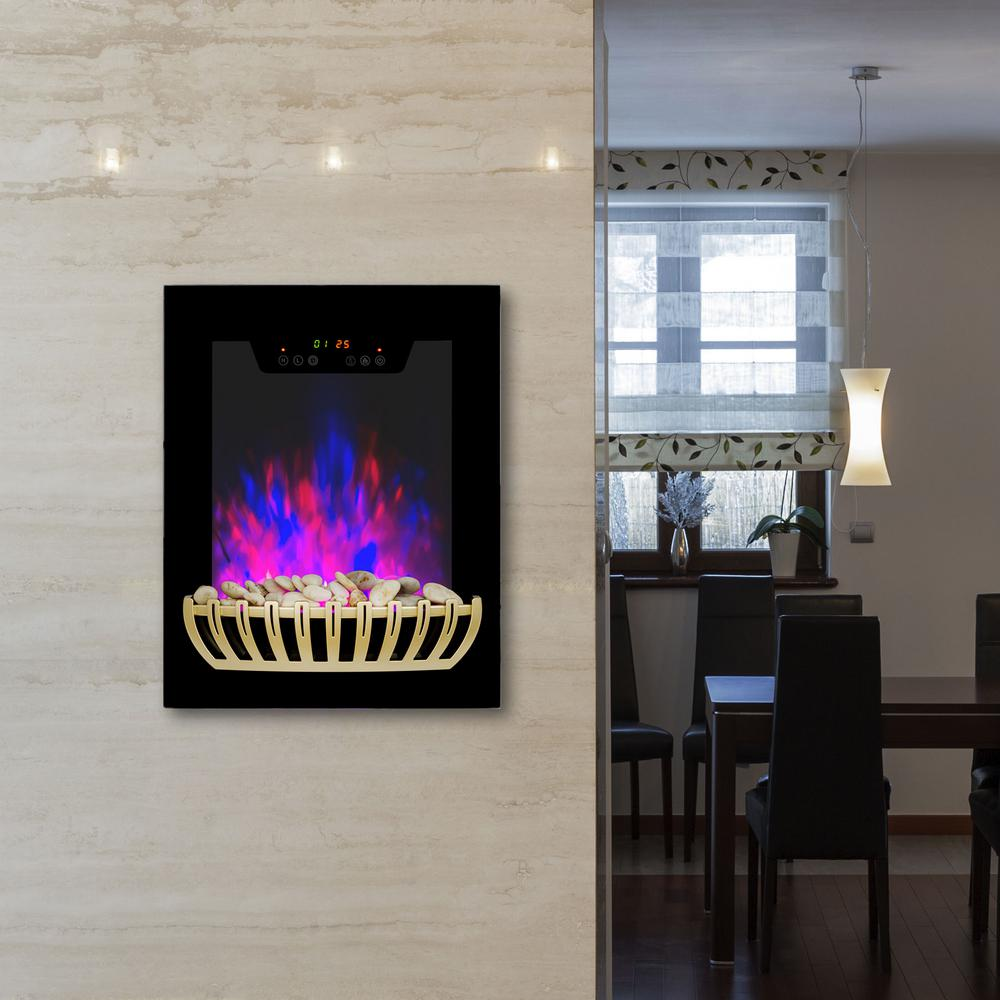 19 in. Wall Mount Electric Fireplace Heater in Black with Tempered