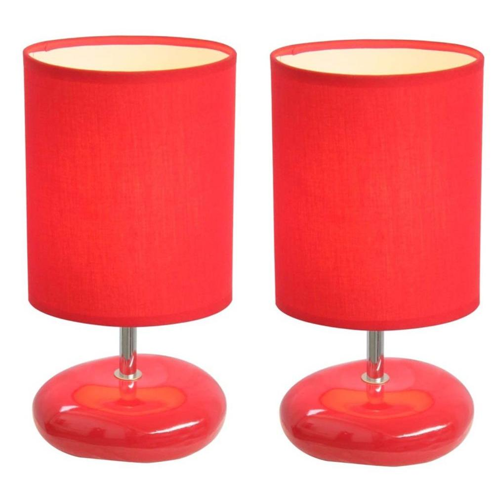 Simple Designs 10.5 in. Red Stonies Small Stone Look Table Bedside Lamp (2-Pack)