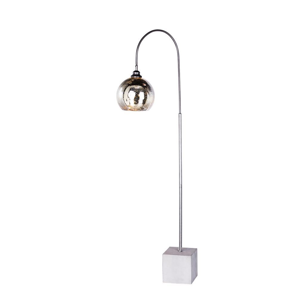 69 in. Arched Dark Silver Metal and Glass Floor Lamp with