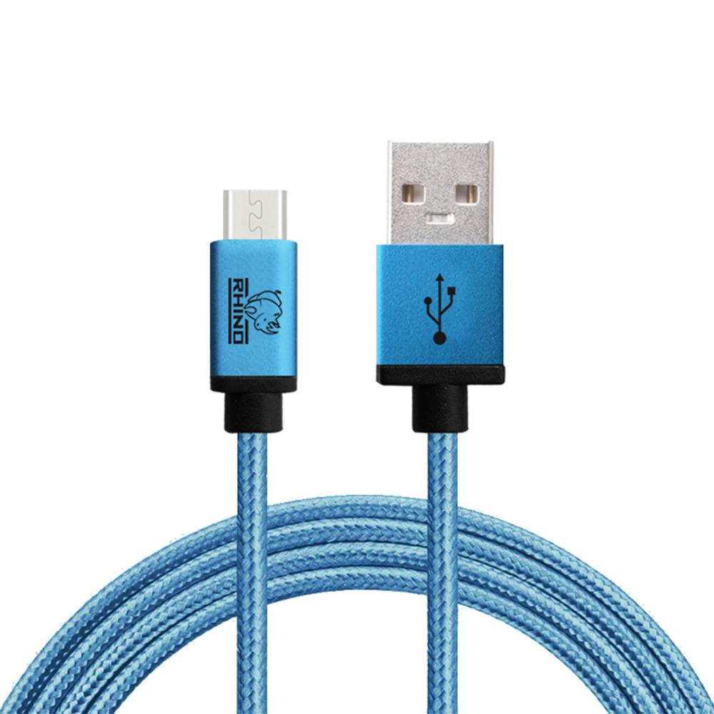 Micro USB Cable 10 ft. Coral Blue Tough-Braided Extra-Strong Jacket Sync/Charge