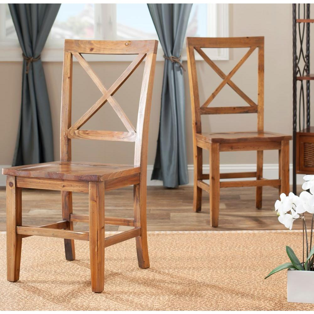 Johnny Brown Pine Dining Chair (Set of 2)
