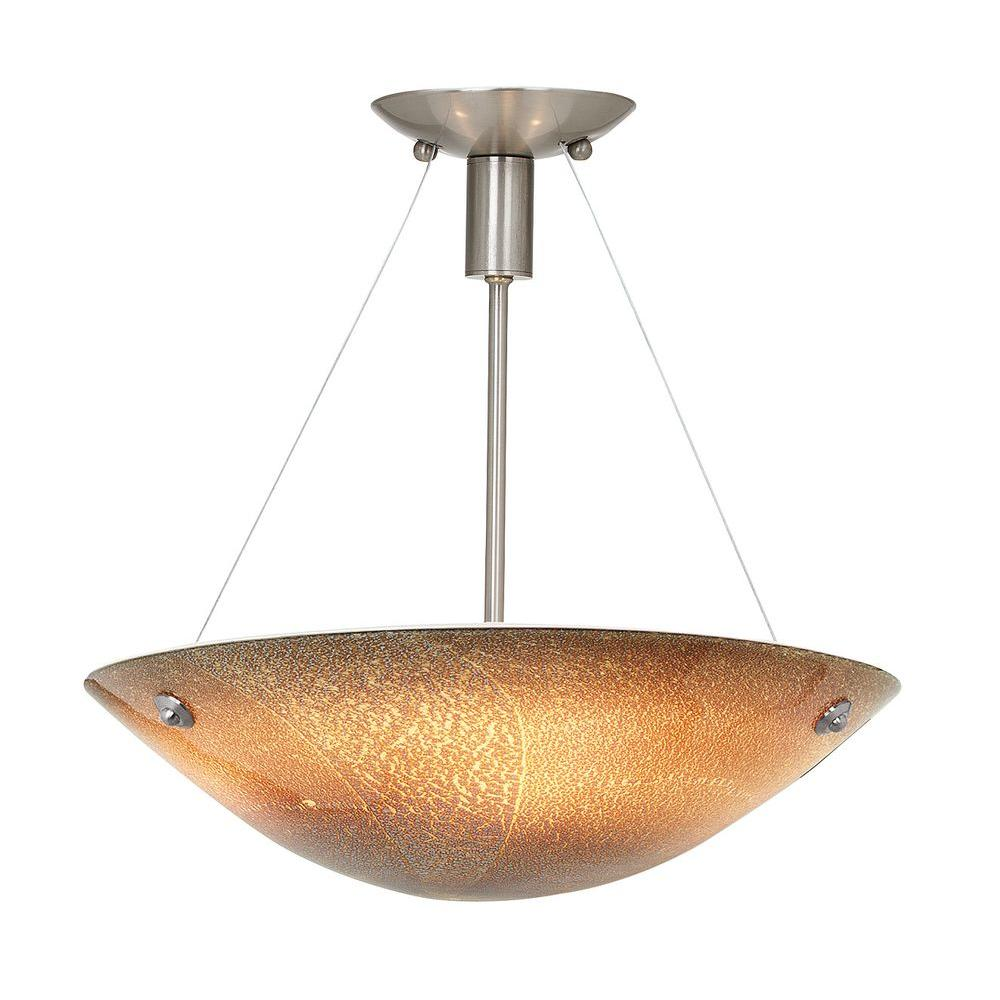 Illumine 3-Light Brushed Steel Semi Flush Mount with Silver Amber Glass-DISCONTINUED