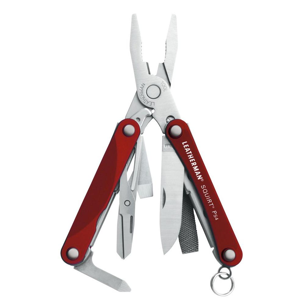Leatherman Tool Group Squirt Size Red Multi-Purpose Key Chain Tool with Pliers
