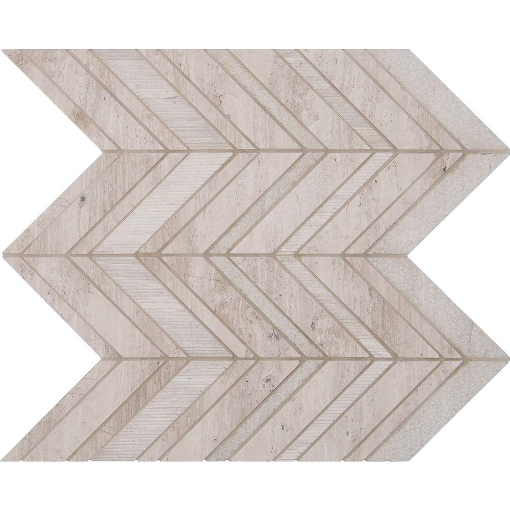 MS International White Quarry Chevron 12 in. x 12 in. x 10 mm Natural Marble Mesh-Mounted Mosaic Floor and Wall Tile