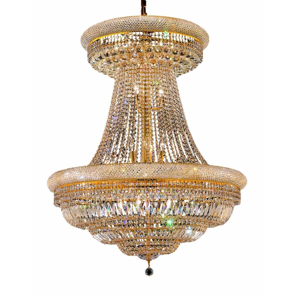 Elegant Lighting 28-Light Gold Chandelier with Clear Crystal