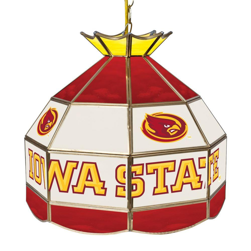 Iowa State University 16 in. Gold Hanging Tiffany Style Billiard Lamp